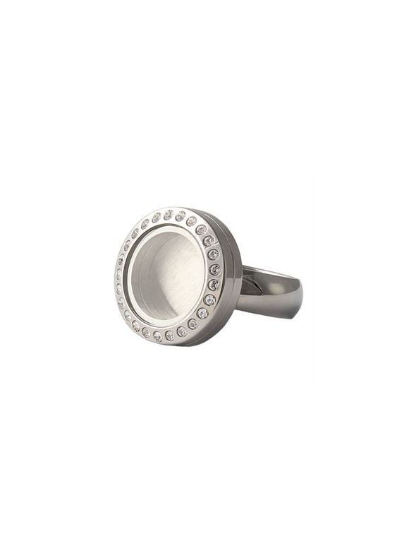 Silver with Crystals Mini Locket Ring - Size 6