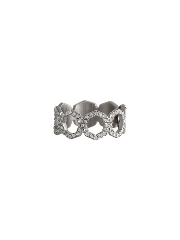 Silver with Crystals Octagonal Ring - Size 8