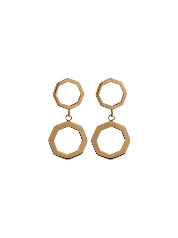 Rose Gold Octagonal Duo Hoops
