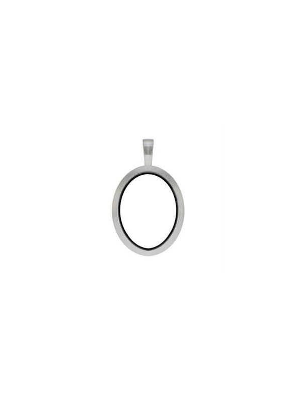 Silver Matte Oval Locket