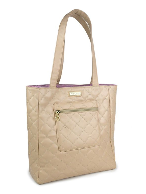 Katharine Quilted Tan Tote