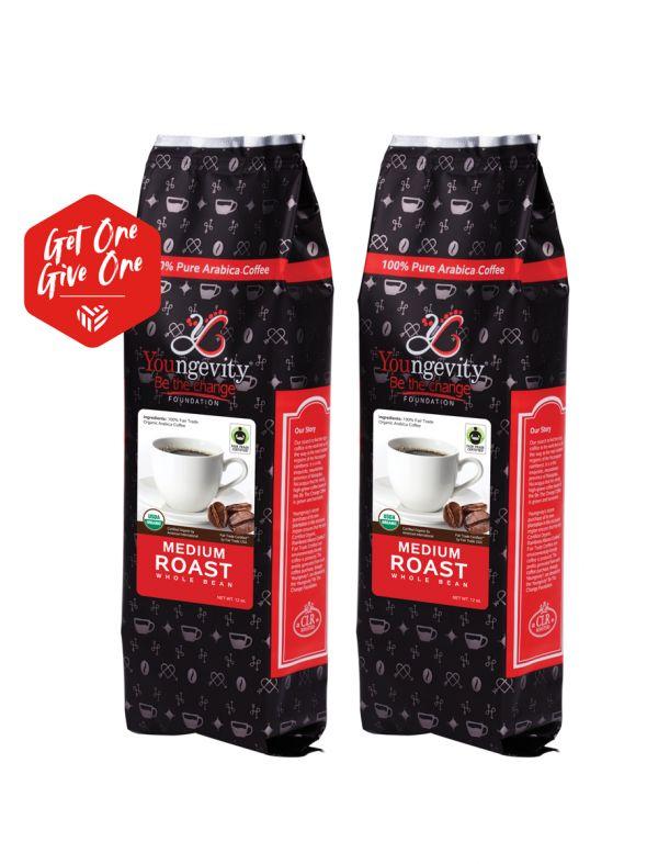 Be The Change Coffee - Fair Trade Organic Original Medium Roast - Whole Bean (12oz) [QTY: 2 | Get One, Give One FREE]